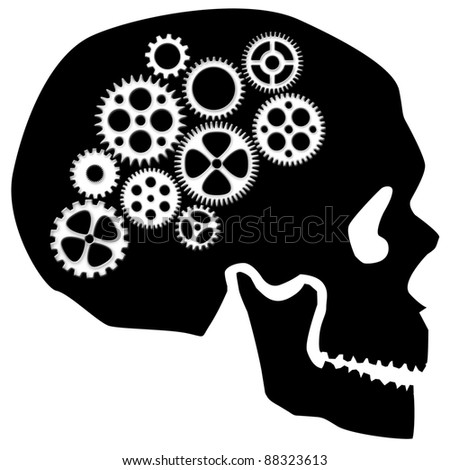 Skull Silhouette with Gears Isolated on White Background Clipart - stock photo