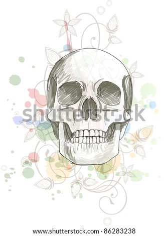 Skull sketch & floral calligraphy ornament - a stylized orchid, color paint background. Bitmap copy my vector ID 70601974 - stock photo