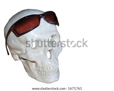Skull & sunglasses with clipping path - stock photo