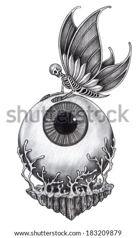 Skull surreal tattoo .Hand drawing on paper. - stock photo