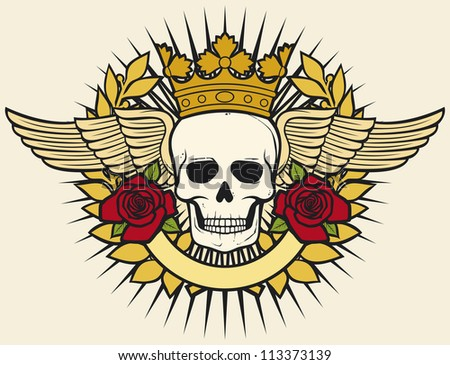 skull symbol - skull tattoo design (crown, laurel wreath, wings, roses and banner) - stock photo