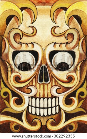 Skull tattoo color . Hand color painting on paper. - stock photo