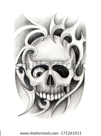 Skull tattoo hand drawing on paper stock illustration for Drawing tattoos on paper