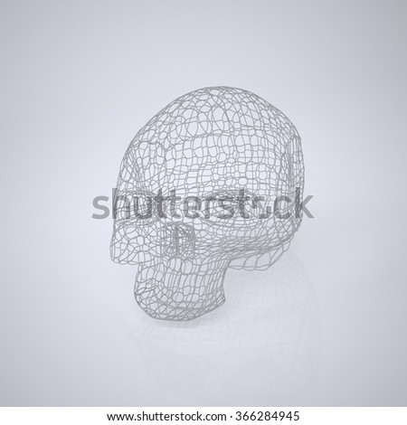 Skull. The Three-dimensional Skull on a White background. Head. Death's Head. Wire Skull. Wire Skeleton. 3d model. Modeling. Rendering in 3D Program - stock photo