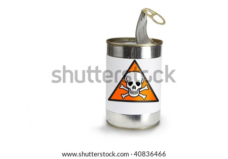 skull Warning Symbol on a can on a white background - stock photo