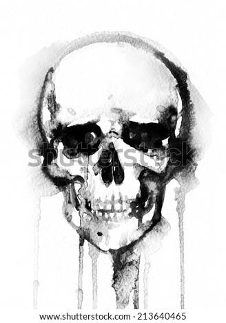 skull .watercolor illustration - stock photo
