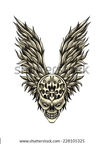 Skull wings tattoo. Hand drawing on paper. - stock photo