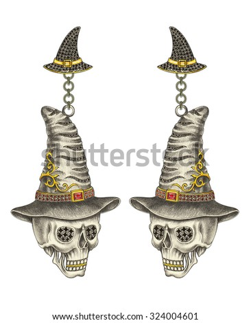 Skull Witch earrings  Halloween day. Hand pencil drawing and water color painting on paper. - stock photo