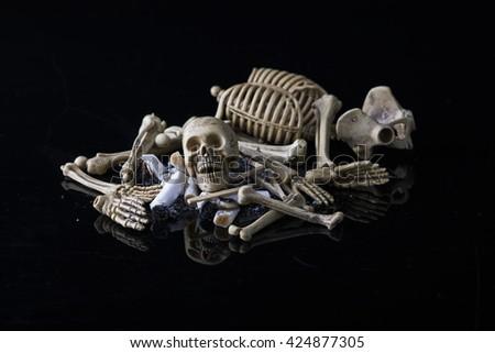 Skull with a cigarette, Smok cigarette will kill you - stock photo