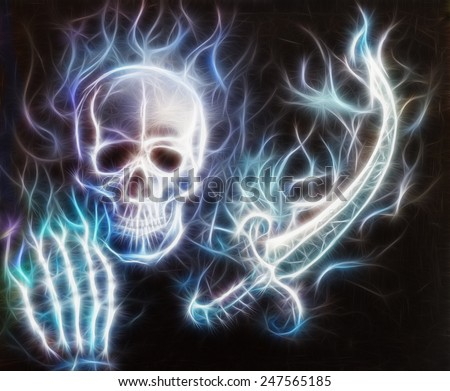 Skull with a hand, sword airbrush painting with bokeh and fractal - stock photo