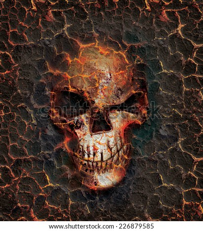 Skull with an evil grin imprinted in the annealed surface - stock photo