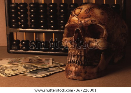 skull with banknote yuan and dollar business still life