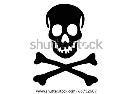 Skull with crossed bones - stock photo