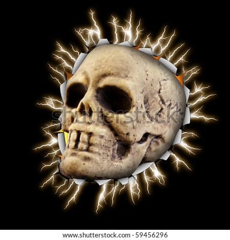 Skull with electric background halloween - stock photo