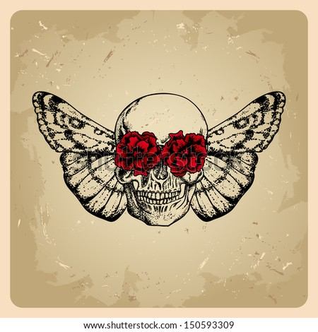 skull with flowers and a moth in a tattoo style  .rasterized/bitmap version - stock photo