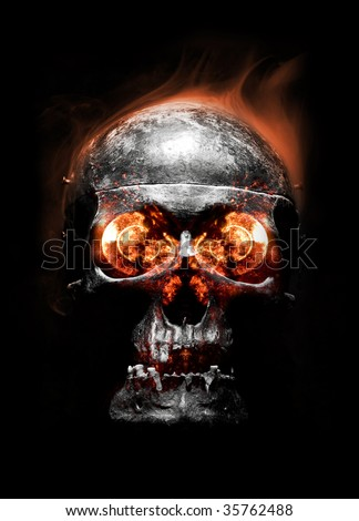 skull with smoke and fire isolated on black - stock photo