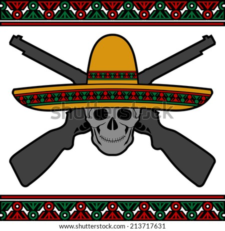 skull with sombrero and guns. raster version - stock photo