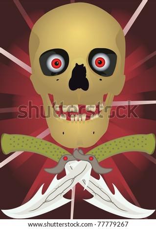Skull with the crossed knifes, raster illustration. - stock photo