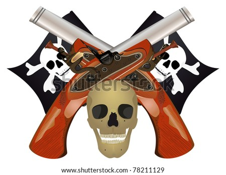 Skull with the crossed pistols, raster illustration. - stock photo