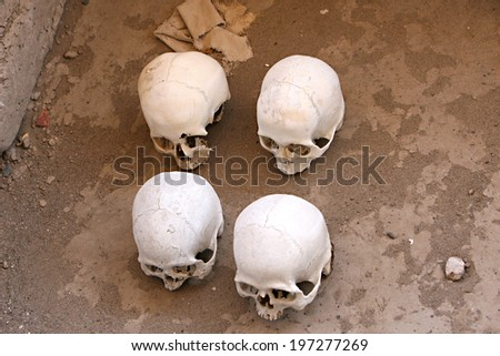 Skulls and bones in Chauchilla, an ancient cemetery in the desert of Nazca, Peru. The remains of many people, some still with long hair, can be seen. - stock photo