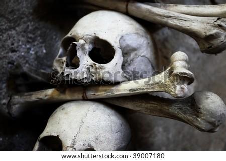 Skulls and bones in the bone chapel in Kutna Hora, Czech Republic - stock photo