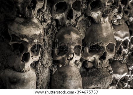 Skulls and bones in the chapel