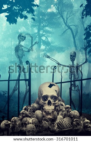 Skulls and Skeletons in creepy graveyard - stock photo