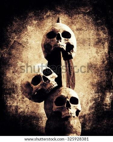 Skulls Background, Halloween Grunge Distressed Texture - stock photo
