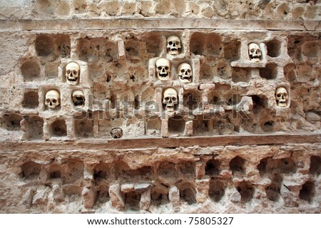 Skulls from skull tower in Nis - Serbia - stock photo