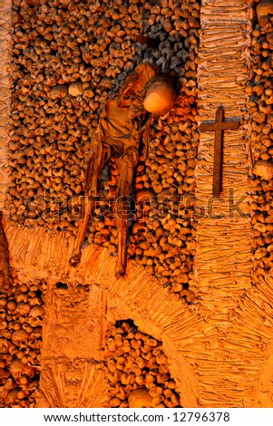 Skulls in the Chapel of Bones in Evora (Portugal) - stock photo