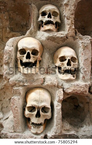 Skulls, skull tower, Nis, Serbia - stock photo