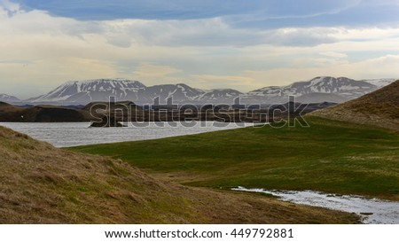 Skutustadagigar pseudo craters formed by steam explosions at Lake Myvatn, Iceland - stock photo