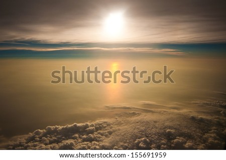 Sky above the clouds. - stock photo