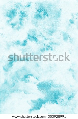Sky abstract watercolor background. Heaven with clouds. Shades of blue. Painted backdrop. Fresco imitation. Raster version. - stock photo