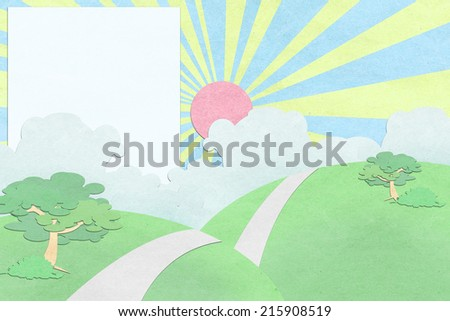 sky and cloud recycled paper craft background - stock photo