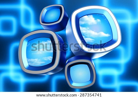 Sky and cloud view through window blocks on blue background with square ornament - stock photo