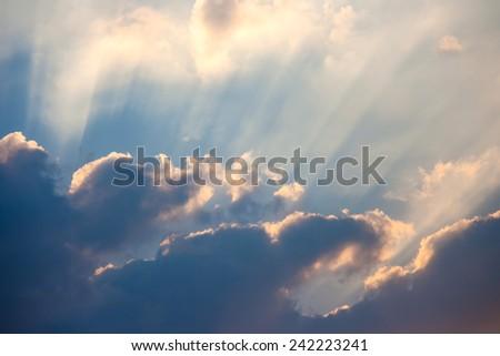 Sky and cloud with sunray, sunbeam - stock photo