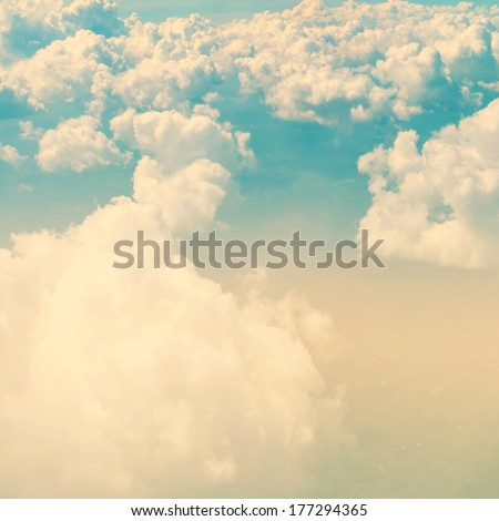 Sky and clouds background with a pastel colored - stock photo