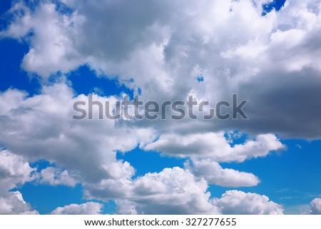 Sky and clouds. Cumulus Cloudscape. Bright sky - stock photo