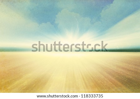 Sky and clouds on old grunge paper - stock photo