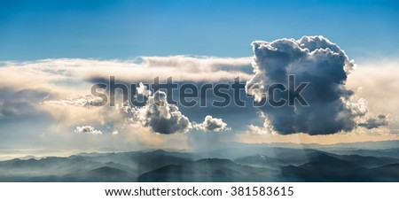 Sky and clouds panorama Nature and environment, cloud landscape. - stock photo