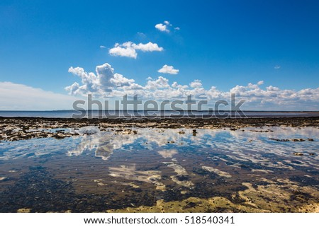 Sky and clouds reflection in calm sea