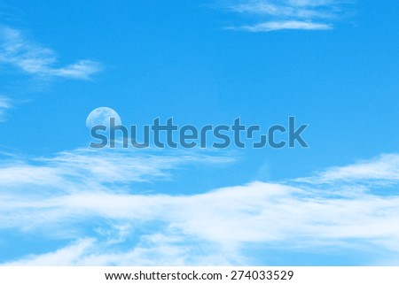 sky and clouds with moon - stock photo