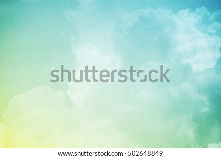 sky and fluffy cloud with gradient color and grunge paper texture