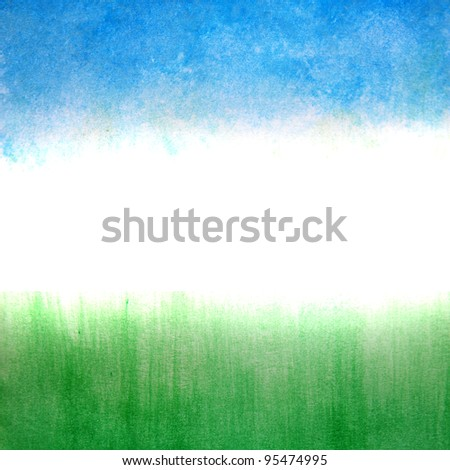 Sky and grass ,watercolor abstract background - stock photo