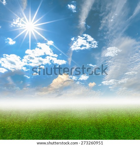 Sky and grass with ray, Summer background - stock photo