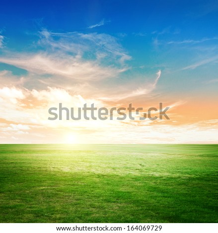 Sky and green meadow. Summer background - stock photo