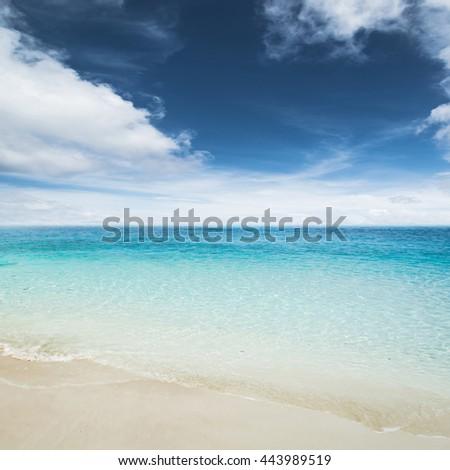 Sky and island beach. Summer shot - stock photo
