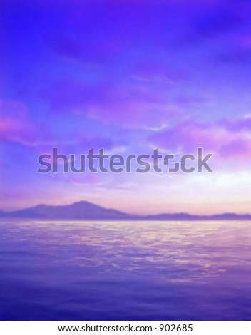Sky and Ocean with Mountains