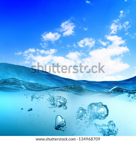 Sky and sea water wave with bubbles illustration - stock photo